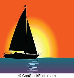 ship at sea color vector illustration
