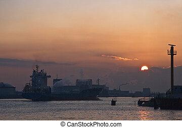 Ship at sunset 1