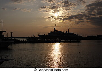 ship at sunset on the Black Sea
