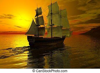 Ship at Sunset - Sailing ship at sunset on a calm sea, 3d...