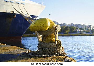 ship at the port of Piraeus Greece