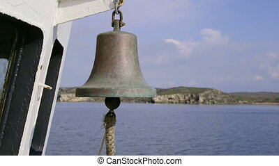 Ship bell on deck of commercial fishing boat
