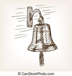 Ship bell sketch style vector illustration