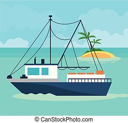 Ship boat at sea