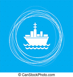 Ship boat icon on a blue background with abstract circles around and place for your text.