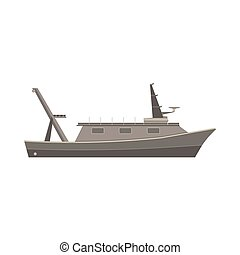Ship boat vector flat design vessel illustration sea yacht isolated cruise icon large marine side