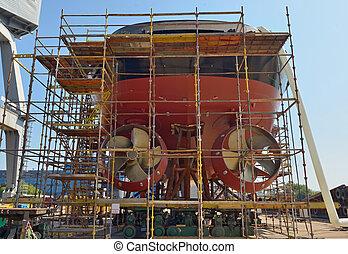 Ship building inside of shipyard
