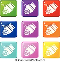 Ship cannon icons set 9 color collection