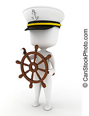 Ship Captain - 3D Illustration of a Ship Captain holding the...