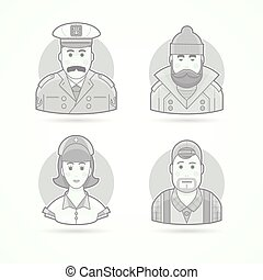 Ship captain, fisherman, nurse and video operator icons. Character, avatar and person illustrations. Flat black and white outlined style.