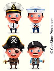 Ship captain, seafarer and pirates vector character set with...