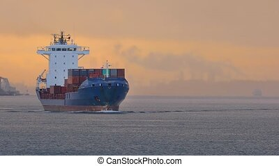 Ship carrying containers through rotterdam - Industrial ship...