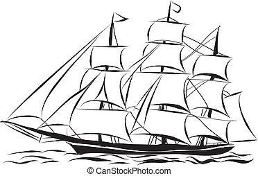 Ship - Ship line art ready for your design work or coloring...