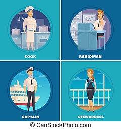 Ship Crew 4 Icons Square
