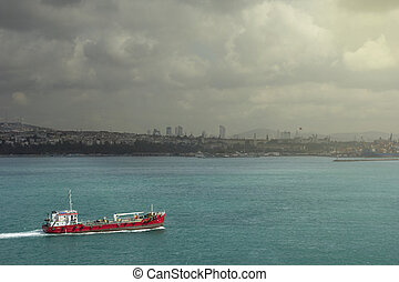 Ship Crossing Bosporus, Istanbul, Turkey