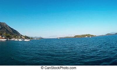 Ship Cruise At Gorgeous Ionian Blue Sea At Island Of Lefkada