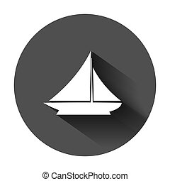 Ship cruise sign icon in flat style. Cargo boat vector illustration on black round background with long shadow. Vessel business concept.