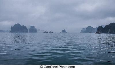 Ship cruise through Ha Long Bay, Vietnam time lapse