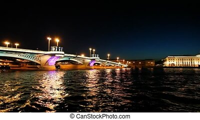 Ship departures from Blagoveshchensky Bridge across night...