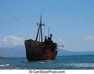 Ship Dimitrios wreck Gytheio Peloponnese Greece