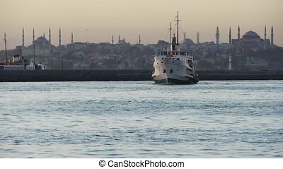 Ship docking at Hagia Sophia. - Ship goes to dock at lovely...