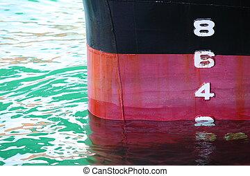 Ship Draught - Water depth gauge detail of a swimming ship...