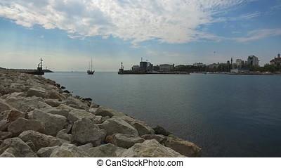 Ship entering the bay in Constanta, Romania