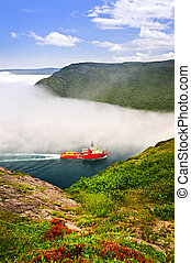 Ship entering the Narrows of St John\'s harbor from Signal...