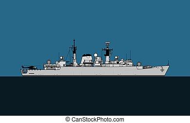 ship., escorte, frigate., 22, marine, broadsword-class, ...