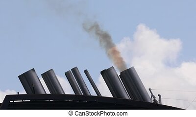 Ship exhaust smoking - Exhaust smoke of a huge ocean giong...