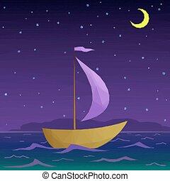 Ship Floats in Night Sea