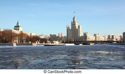 Ship floats, residential complex of Stalin era is located on Kotelnicheskaya Quay