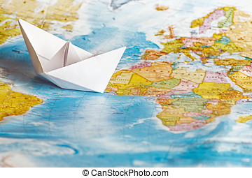 ship from a paper on the geographical map