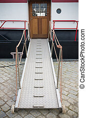 metal gangway between quay and ship