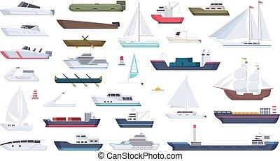 ship., grand, voyage, canot automobile, océan, canotage, vecteur, mer, vaisseau, illustrations, dessin animé, bateau