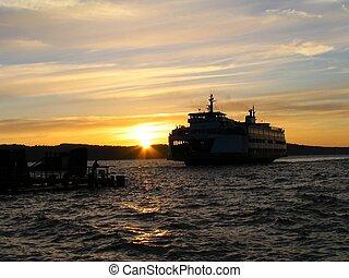Mukilteo Washington ferry landing at sunset in July.