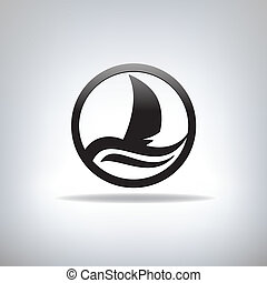 Icon with the image of yacht - Ship. Icon with the image of...