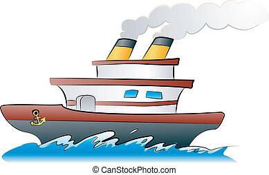 ship illustration - An illustration of a ship sailing across...