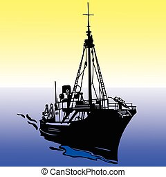 ship illustration vector silhouette