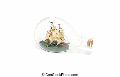 Ship in a glass bottle isolated