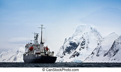 ship in Antarctic