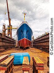 Ship in dry dock