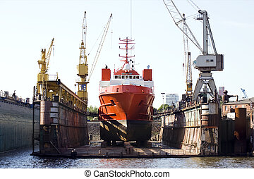 ship in floating dry dock - ship for repairs in large ...