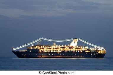 Ship in Greece island