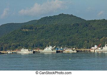 Ship in industrial port