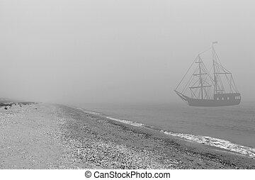 Ship in mist