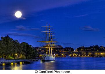 Ship in moonlight.