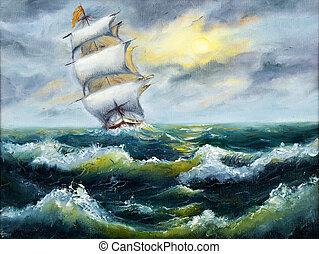 Ship in ocean - Original oil painting of sailing ship and ...