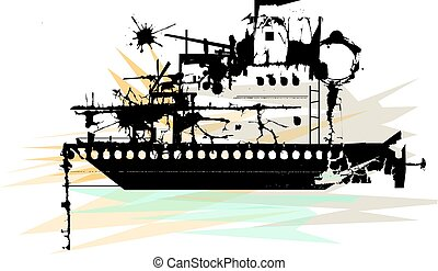 Ship In Ruins - Stylized illustration of silhouetted...