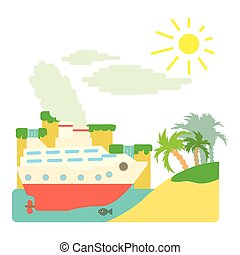 Ship in sea near island concept, flat style